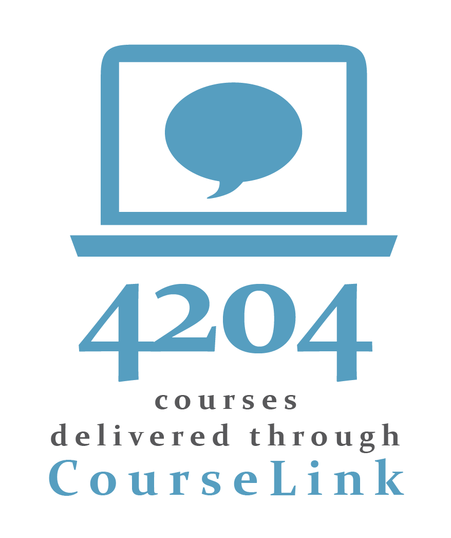 Text image that reads: 4204 courses delivered through CourseLink