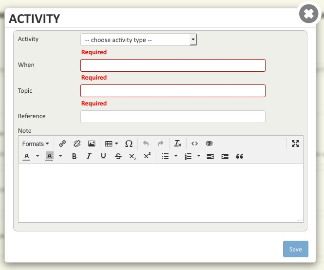 Screen shot of the Activity window.