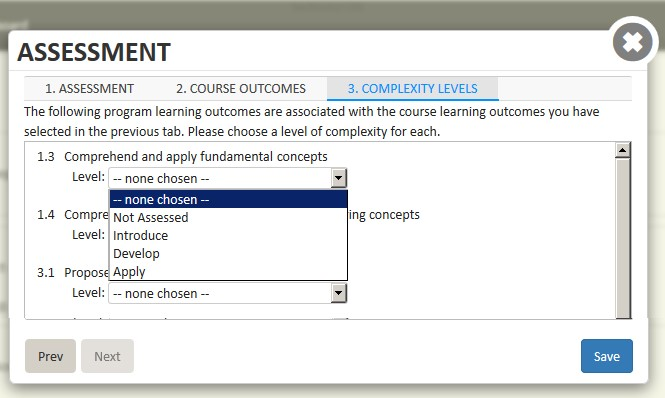 Screen shot of Complexity Levels tab in the Assessment window.