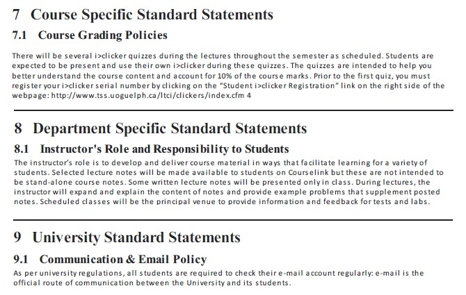 Screen shot of Course Specific Standard Statements