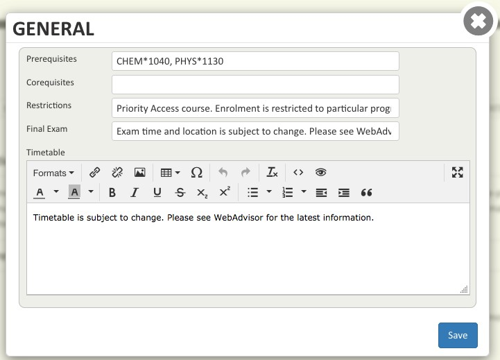 Screen shot of the window for modifying general course outline details in the Course Outline Manager tool.