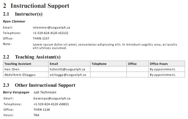 Screen shot of the Instructional Support window.