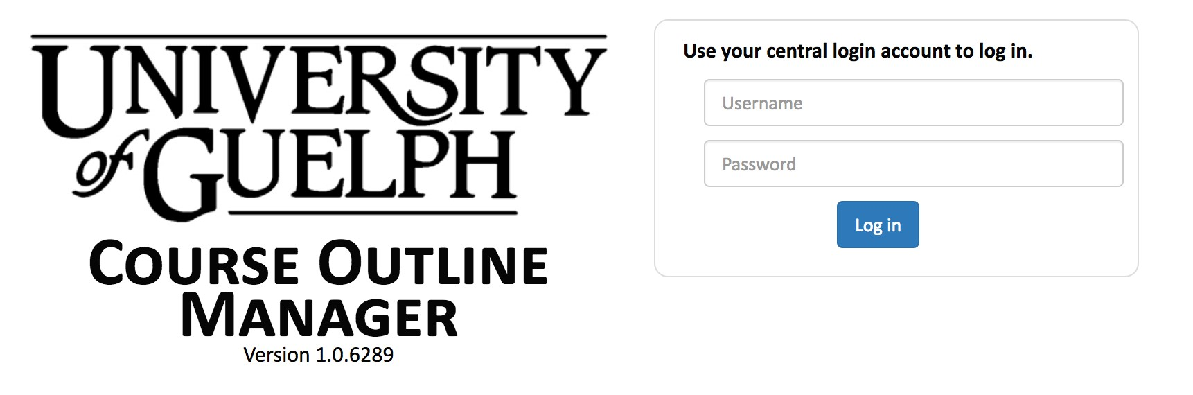 Login page for Course Outline Manager.