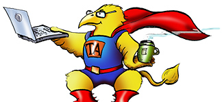 Cartoon of a bird dressed like a TA super hero holding a laptop.