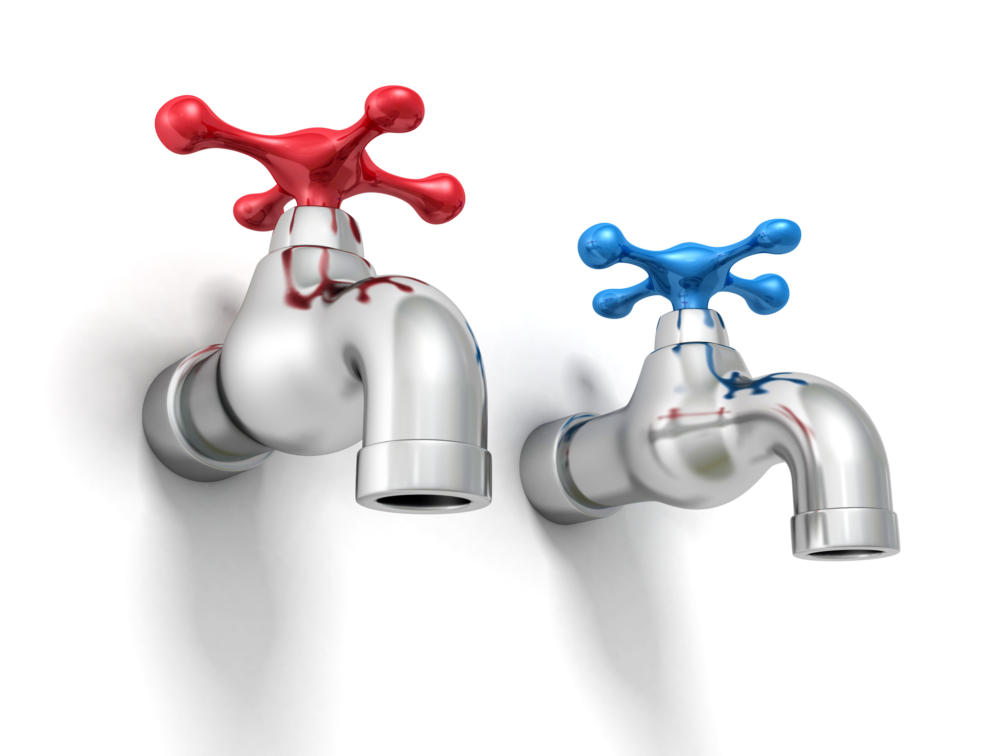 Two water taps--one hot and one cold.