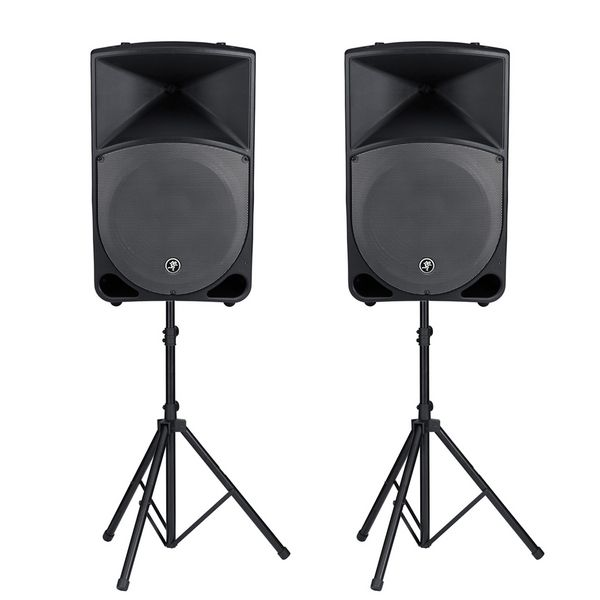 Speakers on tripods.